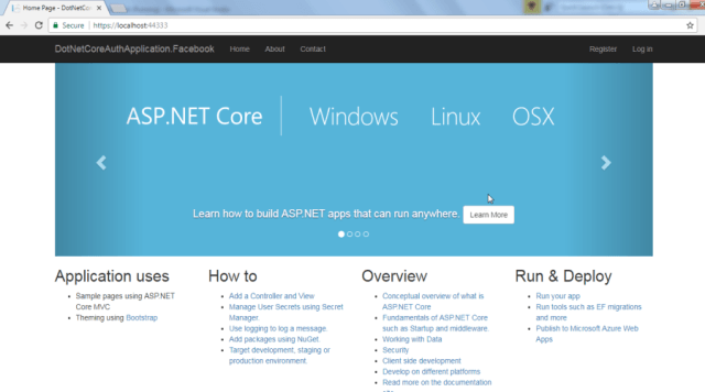 ASP.NET Core 2.0 Application Running