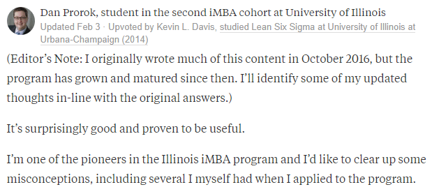Univesity illinois iMBA Degree Program Reviews by Dan Prorok