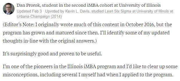 iMBA Degree Program Reviews by Dan Prorok