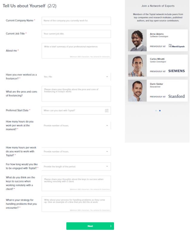 toptal application form 2