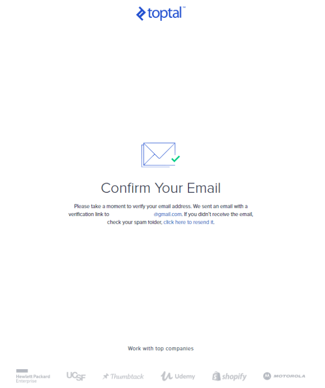 toptal email confirm