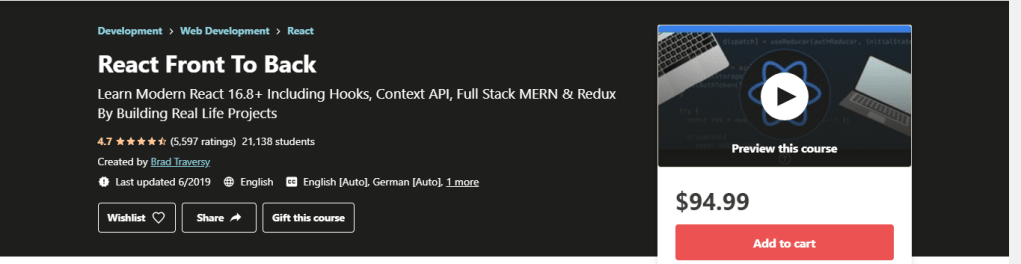 Mern Stack React Front to Back Classes