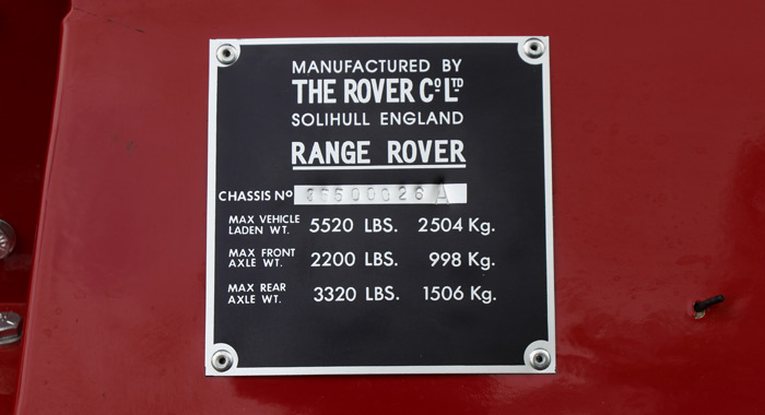 1970 Range Rover chassis no 26 build plate