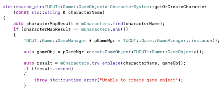 C++ code from a video game to get or create a character.