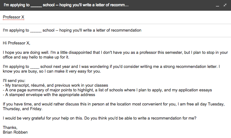 Letter of recommendation email request