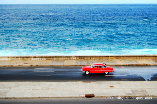 travel independently to cuba malecon vintage car taking to the open road