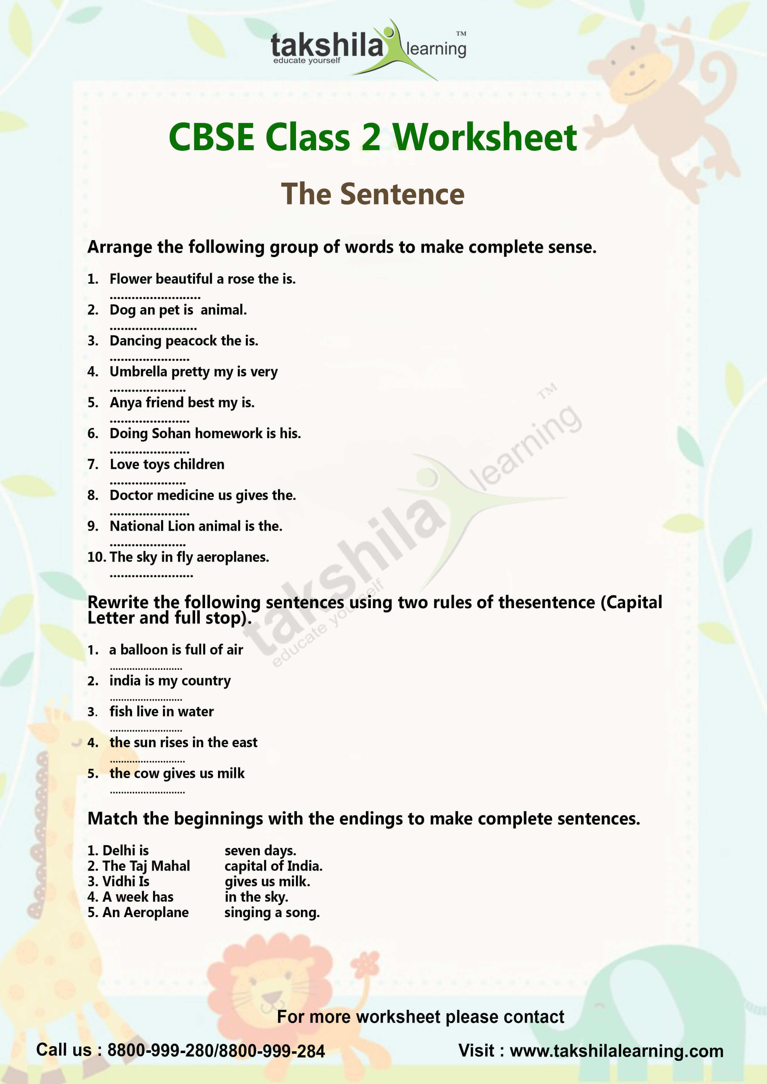 Ncert Amp Cbse Class 2 English Worksheet Lessons The Sentence