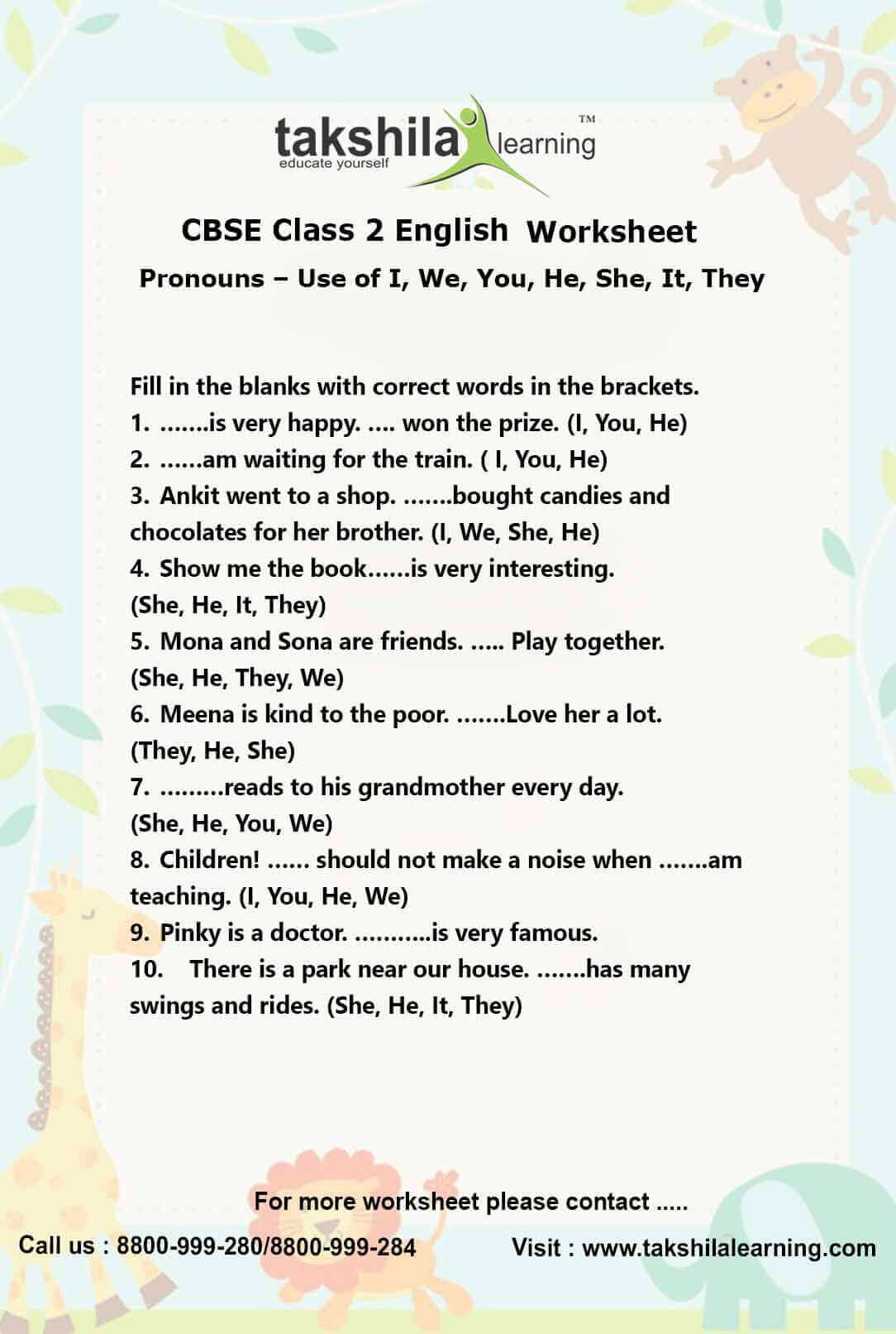 English Grammar Worksheet For Class 2 Cbse