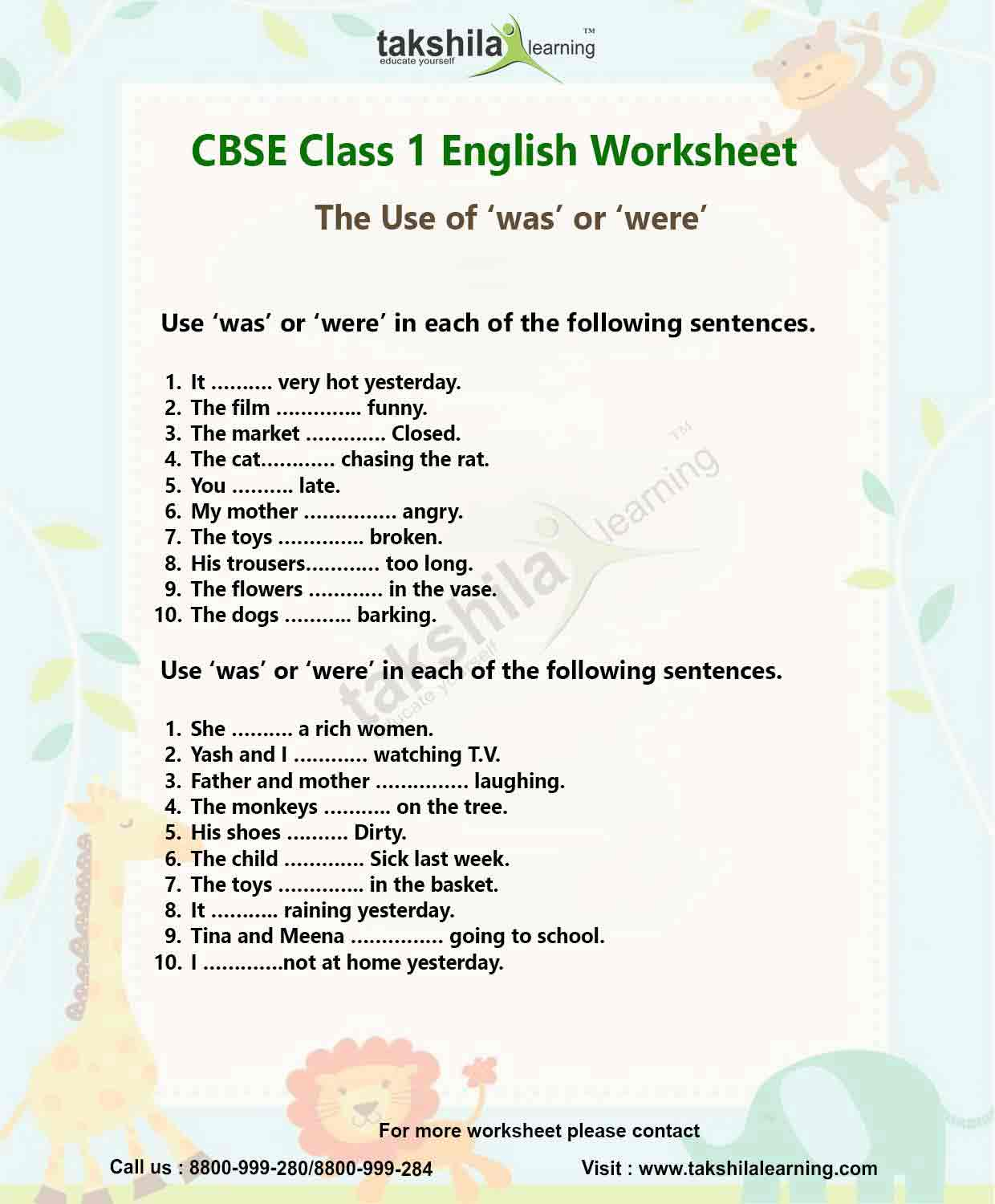 Worksheet Of English For Class 1