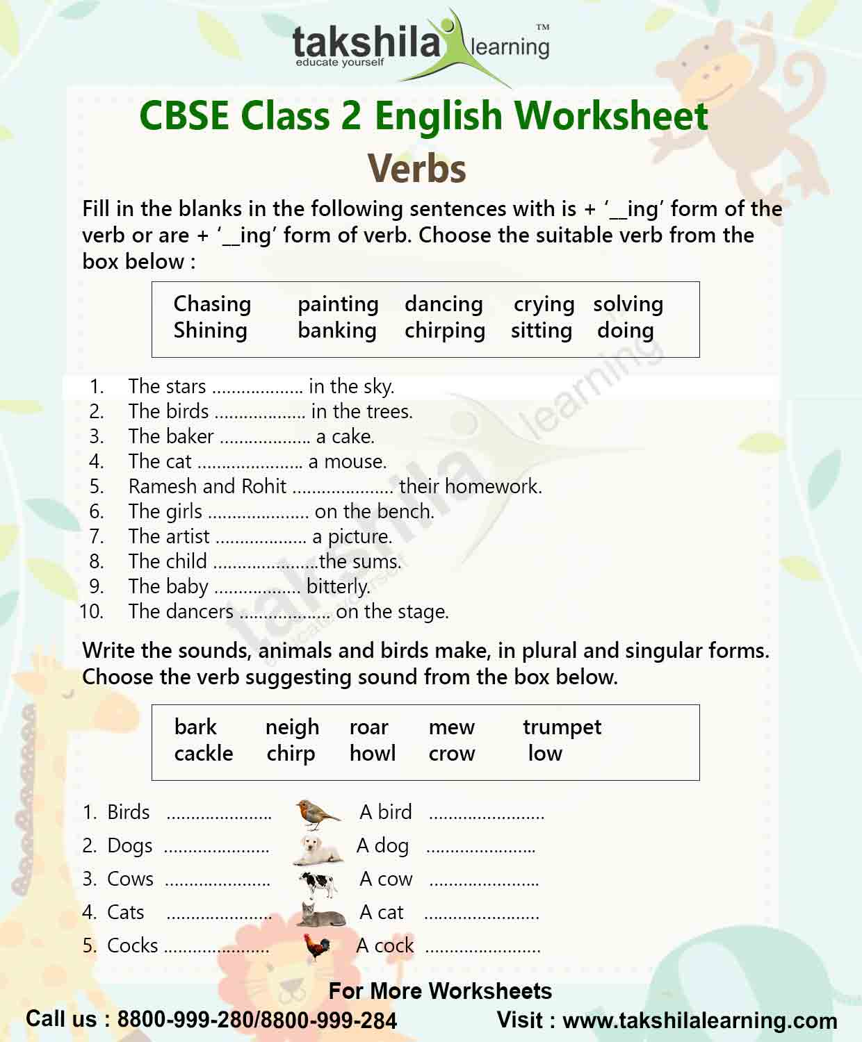 Verbs Class 2nd English Grammar Worksheet For Practice