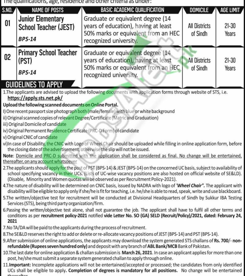 Education & Literacy Department Sindh Jobs 2021 STS Application Form Download