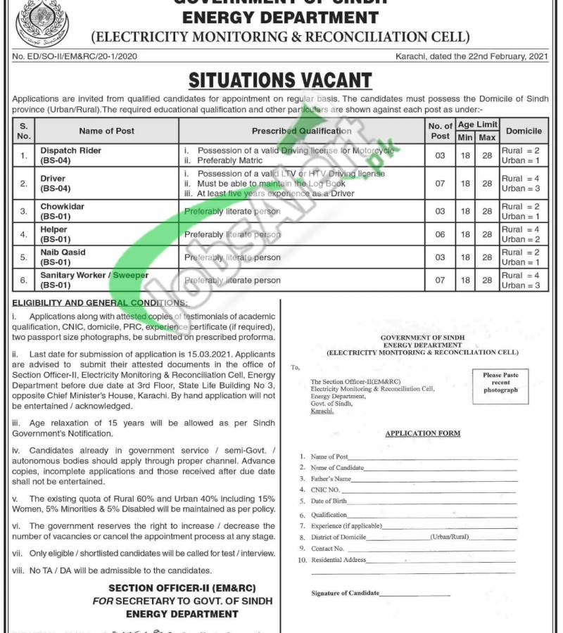 Energy Department Govt of Sindh Jobs 2021 Electricity Monitoring & Reconciliation Cell