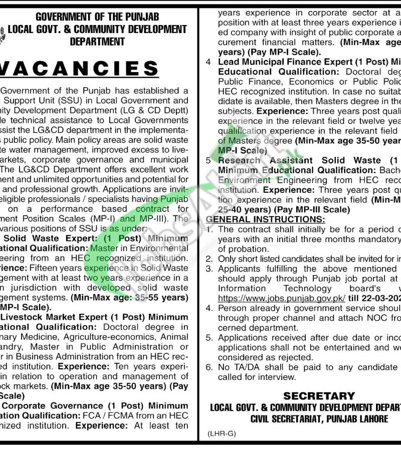 Local Government and Community Development Jobs 2021 Lahore Latest Advertisement