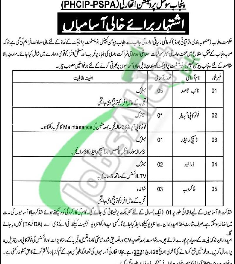 Punjab Social Protection Authority Jobs 2021 PSPA Lahore Pakistan
