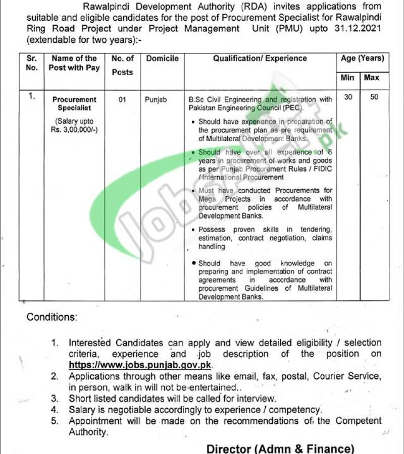 Rawalpindi Development Authority Jobs 2021 Employment Opportunities