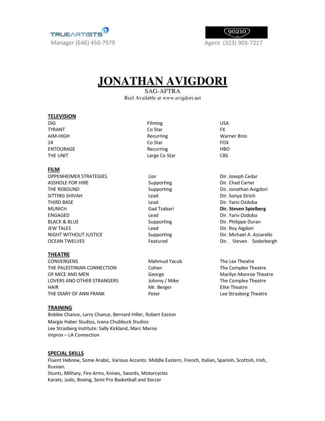 Acting And Modeling Resume Resume Sample