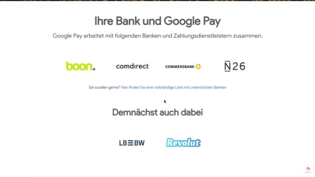 Google Pay Banken Anbindung