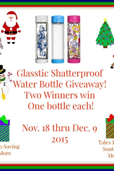 Glasstic Shatterproof Water Bottle Giveaway! 12/7