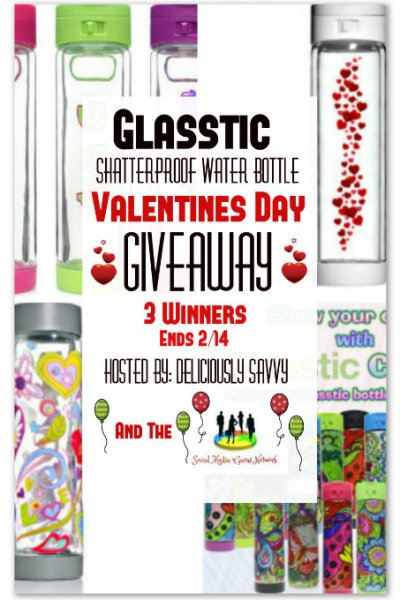 The Glasstic Shatterproof Water Bottle Valentine's Day Giveaway ~ 3 Winners