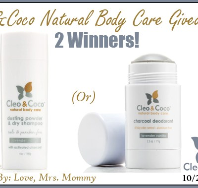 Cleo&Coco All Natural Body Care Product Giveaway! 2 Winners!