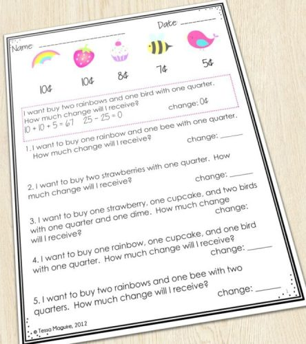 Finding the value of change received worksheets