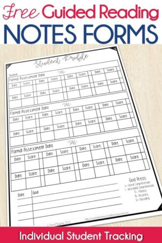 Guided Reading Student Profile Form