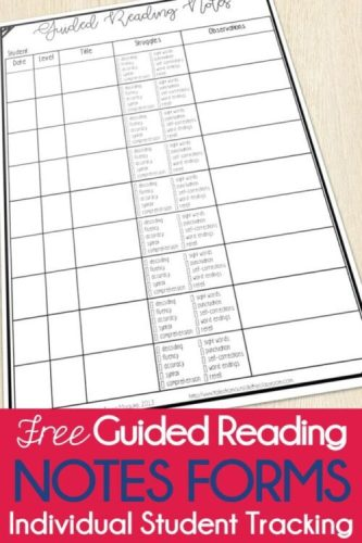 Guided Reading Checklist form