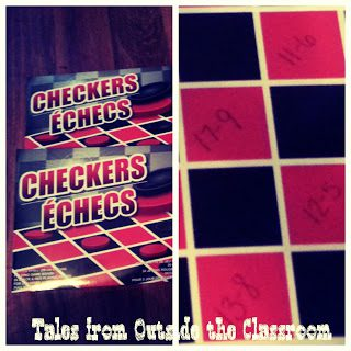 Use checkers to practice math facts. Checkers can be purchased from thrift or dollar stores.