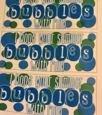 Tag for bubbles bottles for the end of the school year