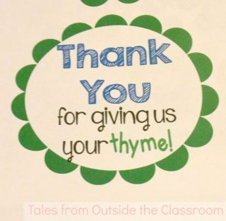 Tag for using thyme as a thank you gift for parent volunteers.