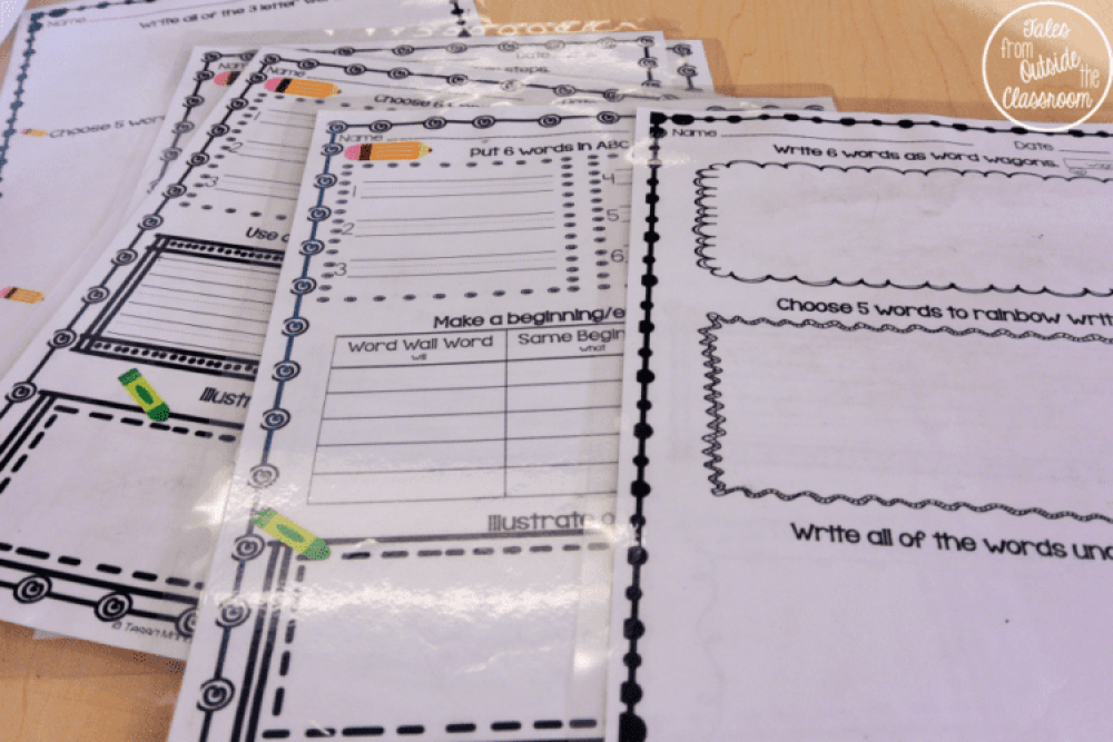 No-prep worksheets that have students practicing their word wall words as an independent center.