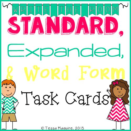 Expanded Form, Standard Form, Word Form Task cards