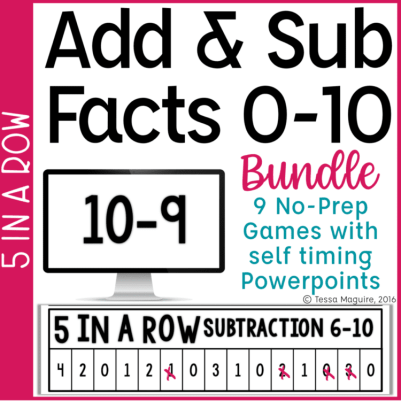 Addition & Subtraction Fact Fluency game 5 in a Row