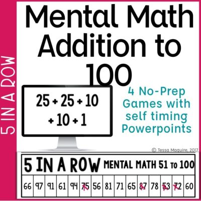 Mental Math: Addition with 100 5 in a Row game cover