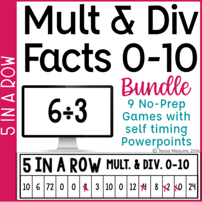 Multiplication & Division Fact Fluency Game 5 in a Row Bundle cover
