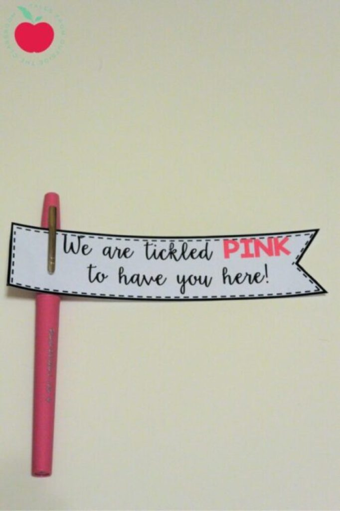 Pink Flair Pen with welcome gift tag