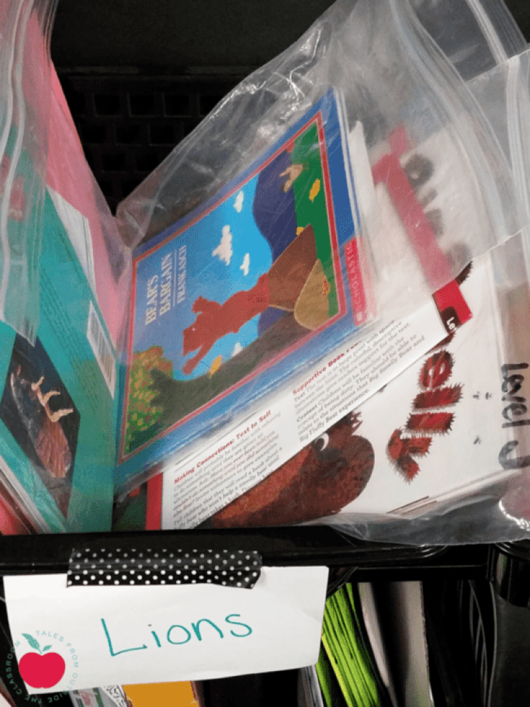 guided reading books in book bins