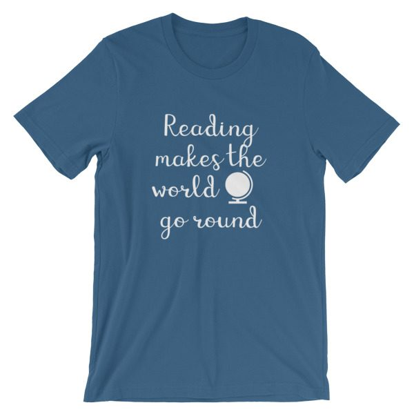 Reading makes the world go round tee steel blue
