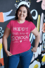 Happy First Day of School teacher tee in pink