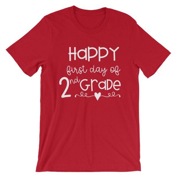 Red First Day of 2nd Grade teacher tee