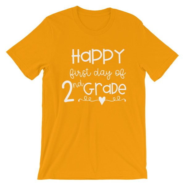 Gold First Day of 2nd Grade teacher tee