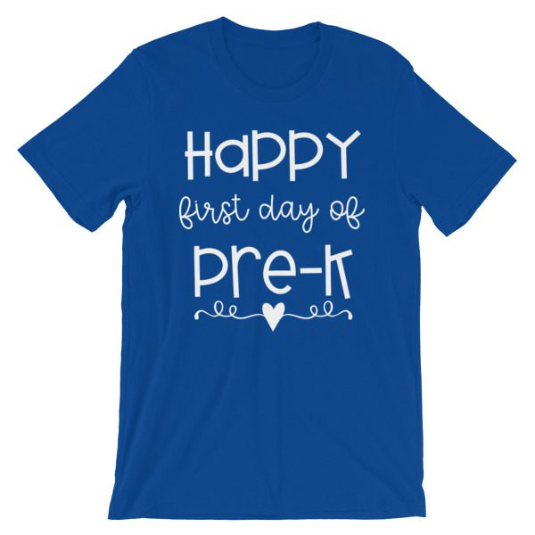 Royal blue Happy First Day of Pre-K tee