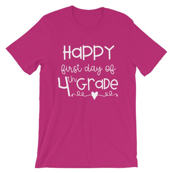 Berry Pink First Day of 4th Grade teacher tee