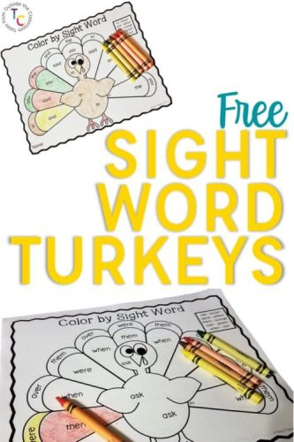 Dolch Sight Word Turkey Pin