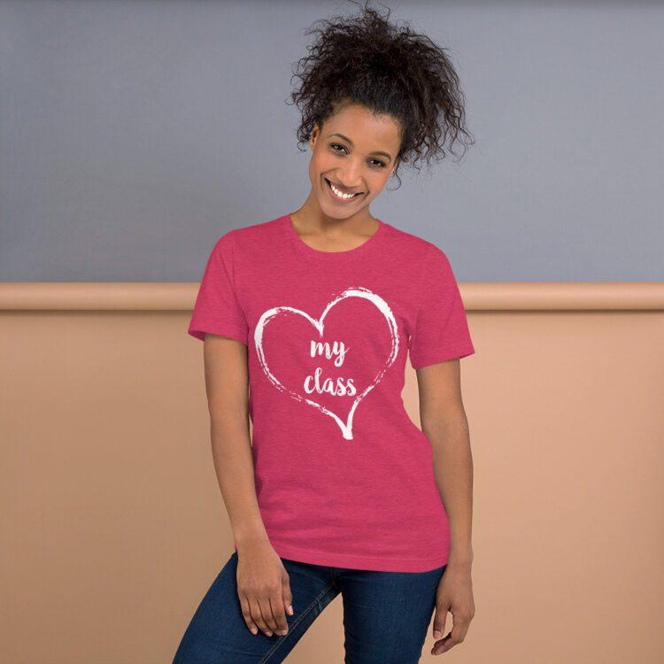 Love my Class tee- Heather Raspberry pink