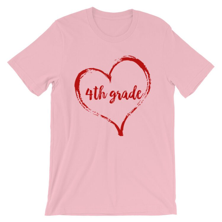 Love 4th grade tee- Pink with red
