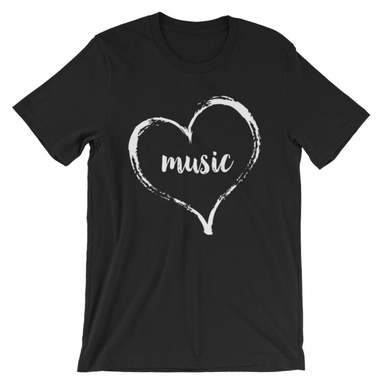 Love Music Tee- black with white