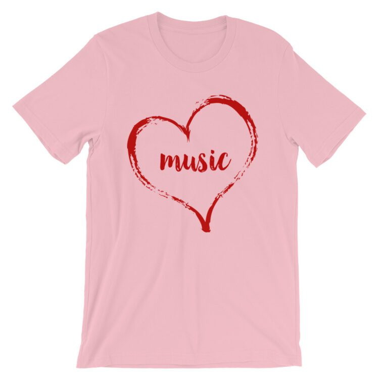 Love Music tee- Pink with Red