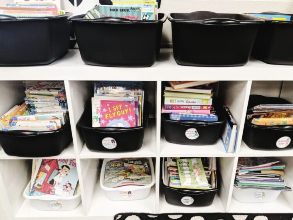 Classroom library bookshelves and book bins