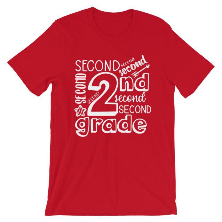 Red Doodle 2nd Grade Teacher Tee